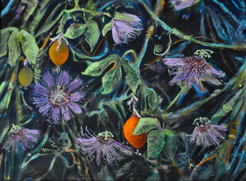 "Passion Flowers, Wildflower series ©Morri 30"" x 36"" approx acrylic/wrapped canvas"