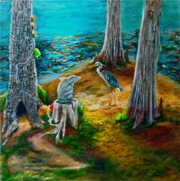 The Statue, Blue Heron, and the Eavesdropper ©Morri (sold)