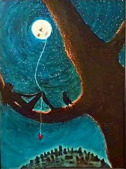 "Keeper of the Moon ©Morri ( acrylic on canvas 24"" x 32"" $1,250.00 + tax/shipping )"